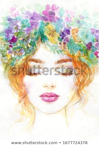 güzel · bir · kadın · güzellik · yaratıcı · makyaj · moda · siyah - stok fotoğraf © chesterf