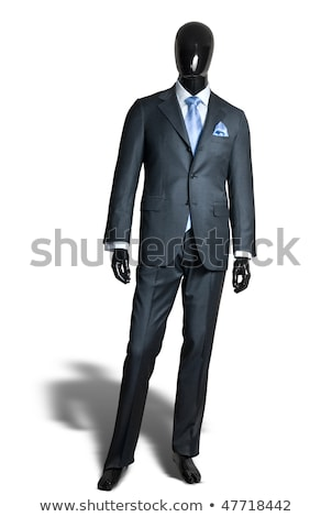 business dark grey suite on mannequin isolated on white stock photo © gsermek