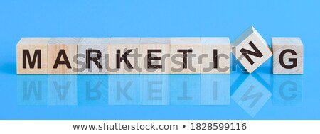 marketing · online · azul · vidrio · bloques · texto · 3D - foto stock © marinini