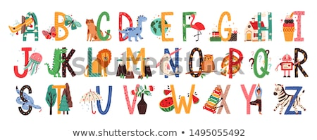 animaux · alphabet · ours · école · heureux · art - photo stock © kariiika