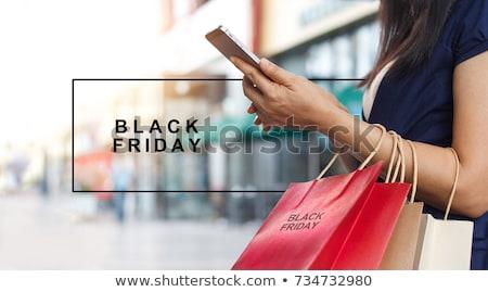 Black friday venda sacos assinar saco preto Foto stock © Wetzkaz