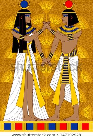 papyrus with egyptian couple stock photo © masamima