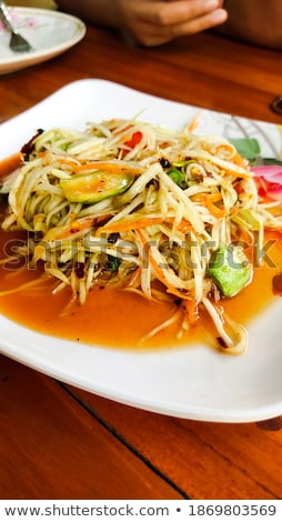 Chinees eten salade chinese witte plaat bloem Stockfoto © bbbar
