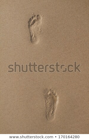 two human footprints in wet sand stock photo © bigandt