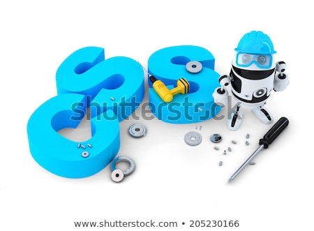 Robot with HTML sign. Technology concept. Isolated on white background. Contains clipping path Stock photo © Kirill_M