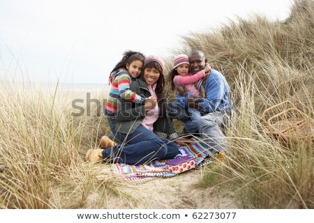 четыре · человека · сидят · пляж · небе · песок · свободу - Сток-фото © monkey_business