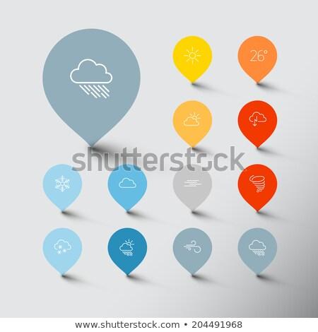 Minimalistic weather thin line pointer icon set Stock photo © orson
