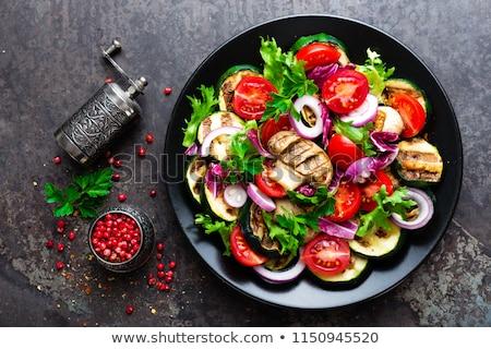 весны · Салат · грибы · продовольствие · зеленый · мяса - Сток-фото © yelenayemchuk