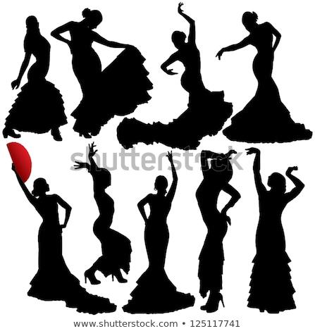 Mulher dança flamenco preto mulher jovem menina Foto stock © artjazz