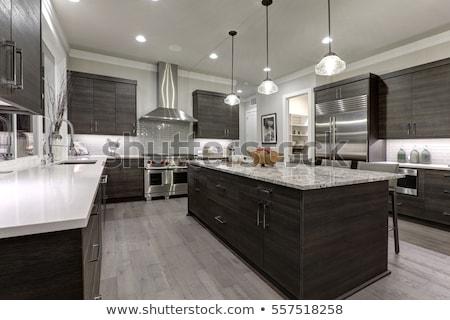 Modernes cuisine simple trois meubles intérieur Photo stock © Suljo