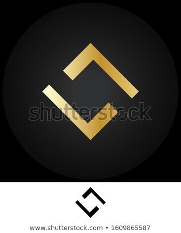 Simétrico praça logotipo da empresa ouro prata cores Foto stock © shawlinmohd