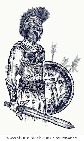 Illustratie spartaans gladiator trojaans pantser man Stockfoto © Krisdog
