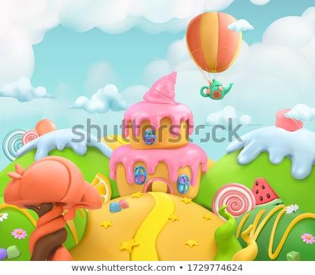 Estilizado conto de fadas castelo ilustração cidade velha céu Foto stock © tracer