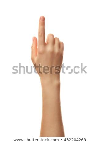 женщину указательный палец белый знак связи прессы Сток-фото © bloodua