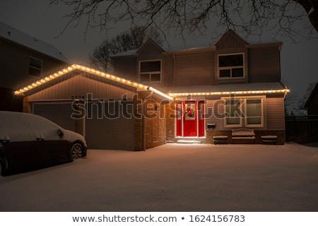 Crăciun lumina cutie poştală zăpadă acoperit Imagine de stoc © ca2hill
