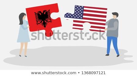 米国 アルバニア フラグ パズル ベクトル 画像 ストックフォト © Istanbul2009