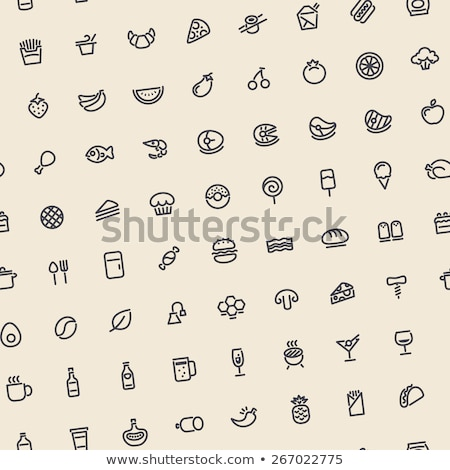 light tilted seamless pattern with dark food icons stock photo © voysla