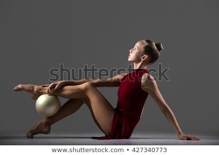 ritmikus · tornász · testmozgás · labda · stúdió · gyönyörű - stock fotó © master1305
