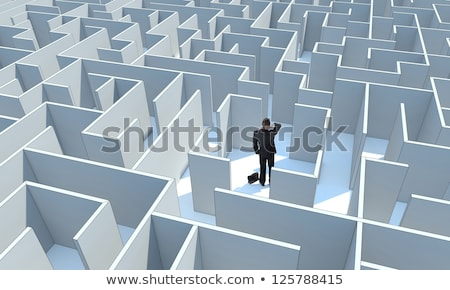Perdu triste homme centre labyrinthe 3D Photo stock © Kirill_M