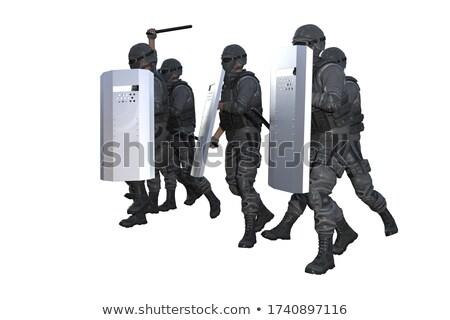 Különleges rendőrség erők feketefehér illusztráció vektor Stock fotó © derocz