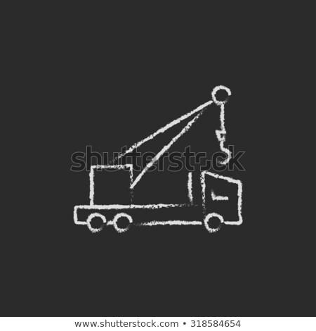 Mobile crane icon drawn in chalk. Stock photo © RAStudio