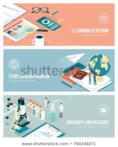 Estudar no exterior on-line trabalhando laptop tela Foto stock © tashatuvango