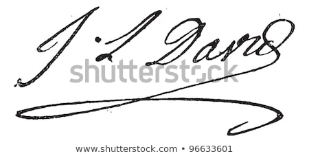 Signature of Jacques-Louis David (1748-1825), vintage engraving. Stock photo © Morphart