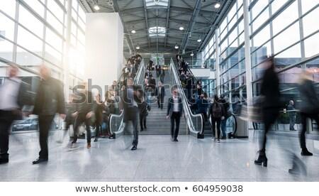 em · movimento · escada · rolante · escritório · construção · abstrato - foto stock © paha_l