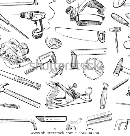 vector seamless pattern with hand drawn common tools used by carpenters stock photo © netkov1
