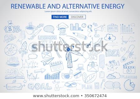 Megújuló alternatív energia firka terv stílus Stock fotó © DavidArts