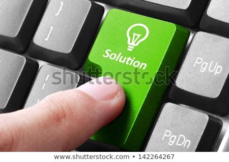 Vinger Blauw toetsenbord knop technische ondersteuning zwarte Stockfoto © tashatuvango