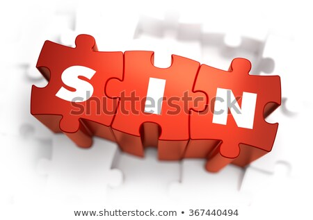 Sin - Text on Red Puzzles. Stock photo © tashatuvango