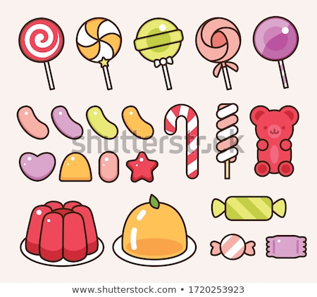 Stock photo: Love Heart Shaped Sweet Lollipop Circle Icon