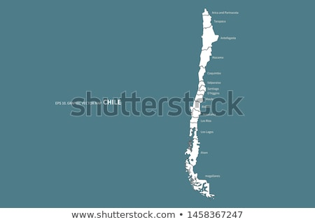 Foto stock: Chile · mapa · político · país · vizinhos