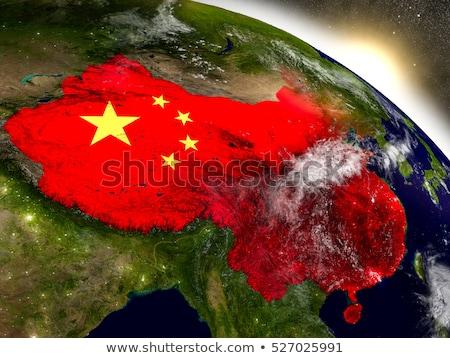 Földgömb Kína zászló Stock fotó © devon