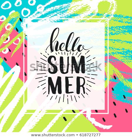 Hallo zomer poster hand geschilderd olie Stockfoto © pakete