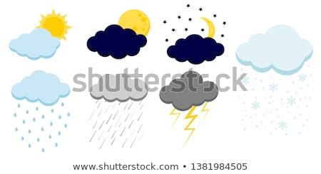 güneş · bulut · yağmur · el · boyalı · yağ - stok fotoğraf © pakete