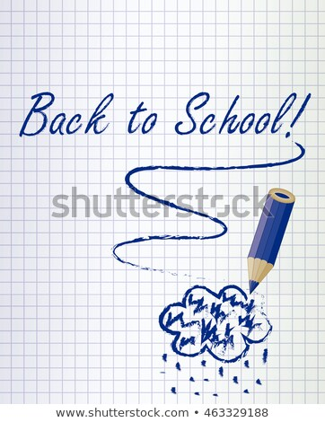 back to school background with a dark blue pencil and rain cloud vector illustration stock photo © carodi