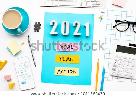 Negocios plan texto bloc de notas colorido lápices Foto stock © fuzzbones0