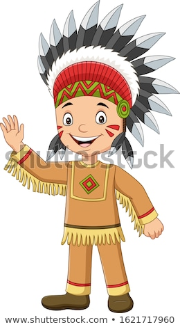 Stock photo: American indian boy in traditional clothes