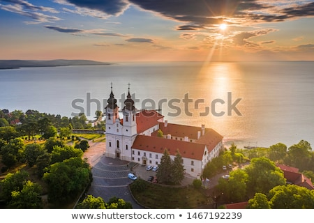 Sunrise over the lake Balaton of Hungary Stock photo © digoarpi