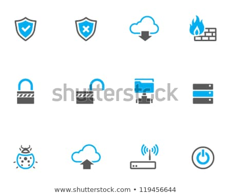 Beveiligde wolk opslag icon grijs knop Stockfoto © WaD