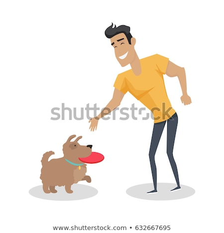dog with frisbee illustration in flat design stock photo © robuart