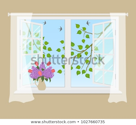 An open window with a view of the bird outside Stock photo © bluering
