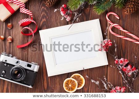 Fotoğraf kareler hediye çam ağacı kamera Noel Stok fotoğraf © karandaev
