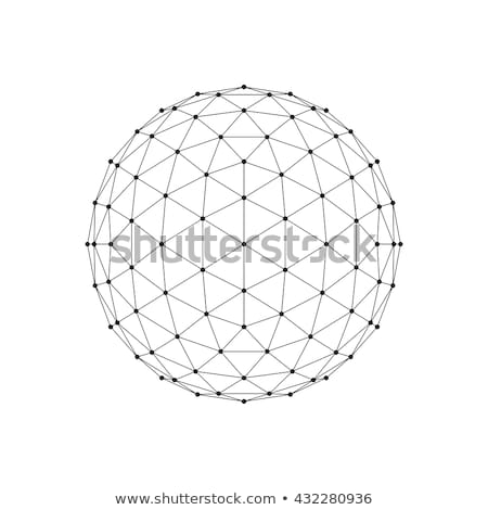 3d icosahedron wireframe mesh sphere network line hud design sphere vector illustration eps10 stock photo © said