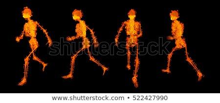 Rendu 3d marche feu squelette rouge médicaux Photo stock © maya2008