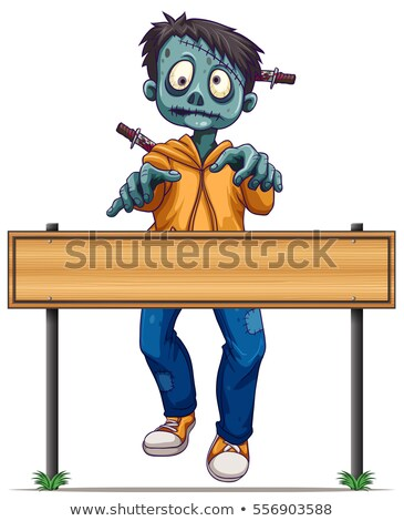 Zombie walking behind wood sign Stock photo © bluering
