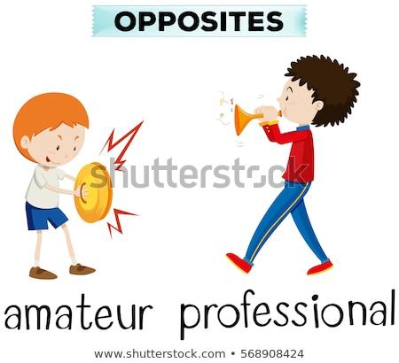Naprzeciwko słowa amator zawodowych ilustracja dziecko Zdjęcia stock © bluering