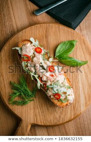 Olasz paradicsom bruschetta aprított zöldségek gyógynövények Stock fotó © Yatsenko